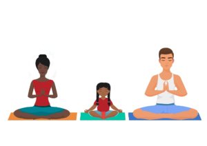 two adults and one child sitting in yoga poses on mats