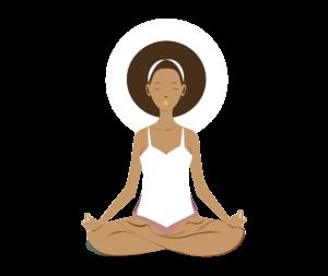 animated black woman sitting in a cross-legged yoga pose