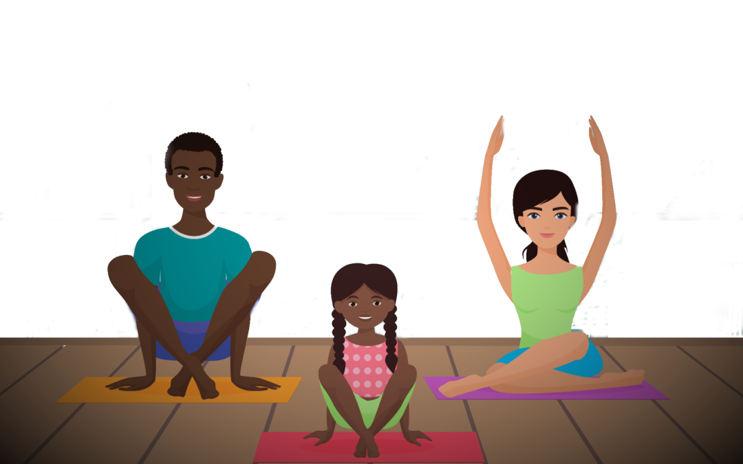 graphic of two adults and one child in various yoga poses on mats