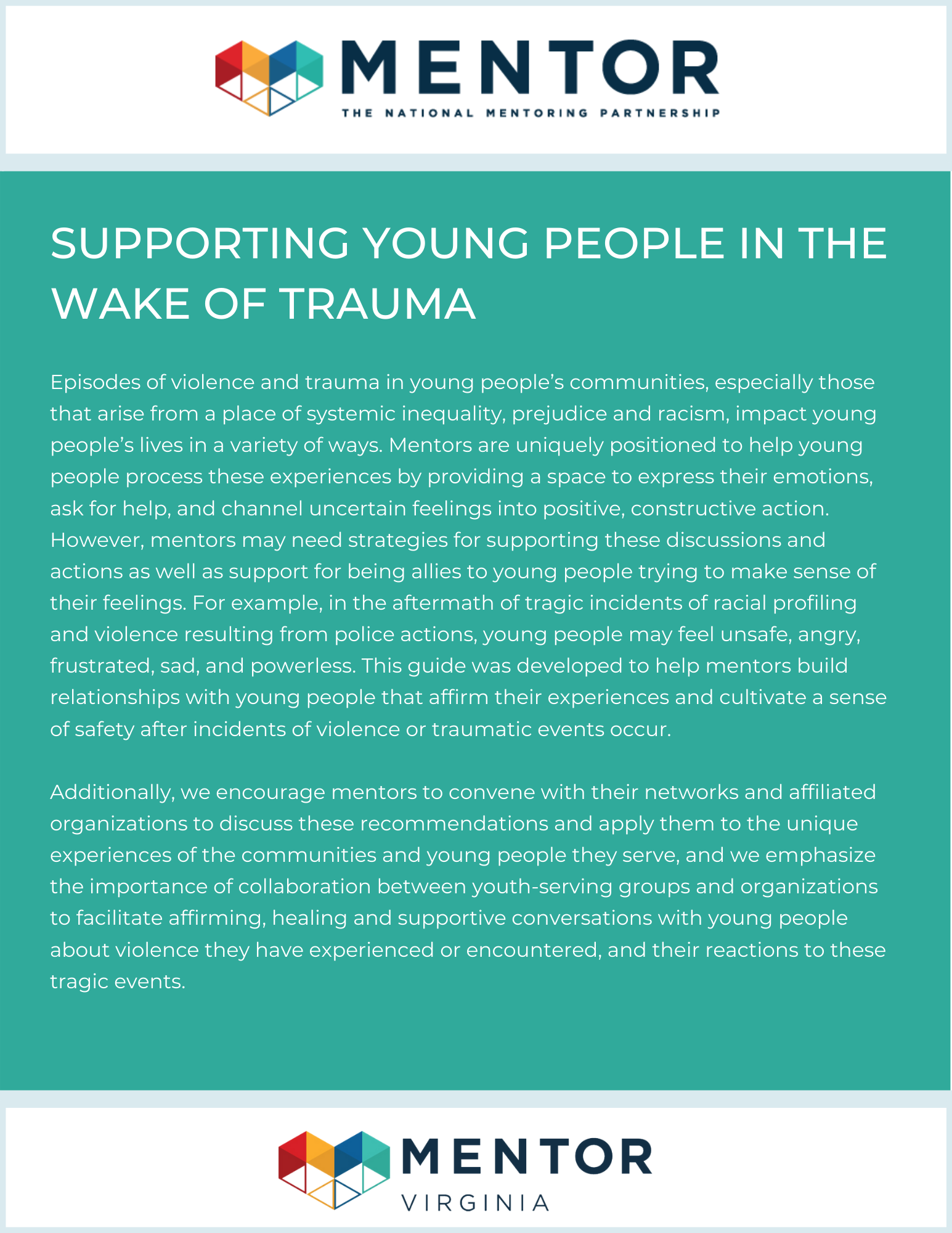 supporting young people after trauma